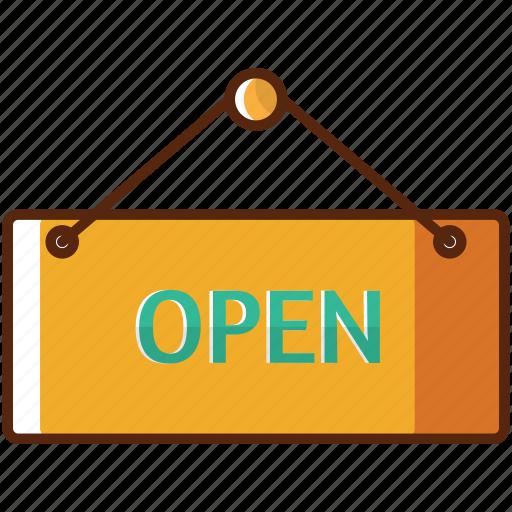 box, market, open, shop, sign icon