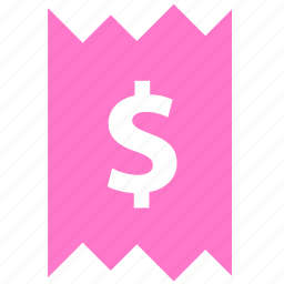 cash, dollar, finance, invoice, money, receipt, sale icon