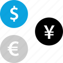 dollar, euro, money, yen icon
