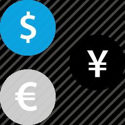 dollar, euro, money, yen icon