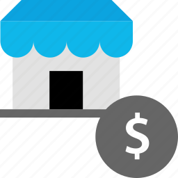 dollar, payment, sign, store icon