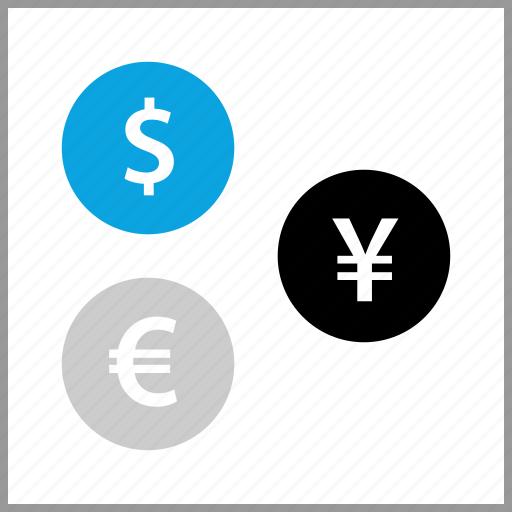 dollar, euro, payment, yen icon