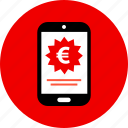 device, euro, mobile, sign, tag icon