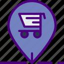 buy, cart, ecommerce, money, pin, shopping icon