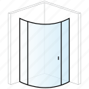 bathroom, curved, enclosure, shower, shower enclosure icon