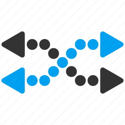 dotted arrows, exchange, flip, horizontal, mix, replace, shuffle icon