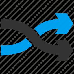 exchange, mix arrows, random, randomize, replace, right, shuffle icon