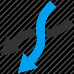 arrow, down left, exchange, mix arrows, random, replace, shuffle icon