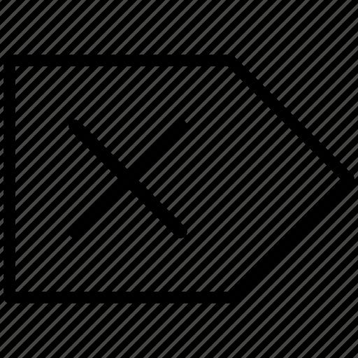 cancel, clear, delete, erase, label, remove, tag icon