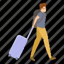 bag, family, man, tourist, travel, woman