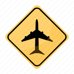 airport, road, sign, traffic, yellow icon