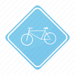 bicycle, road, sign, traffic icon