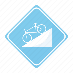 bicycle, dangerous, descent, road, sign, traffic icon