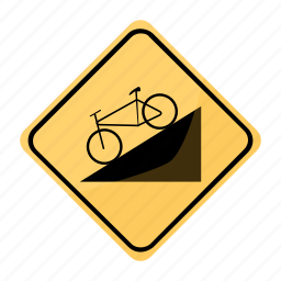 bicycle, dangerous, descent, road, sign, traffic, yellow icon