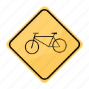 bicycle, road, sign, traffic, yellow
