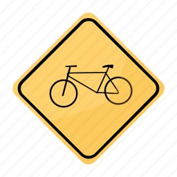 bicycle, road, sign, traffic, yellow icon
