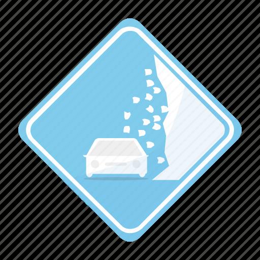 area, car, landslide, road, sign, traffic icon