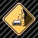 area, car, landslide, road, sign, traffic, yellow