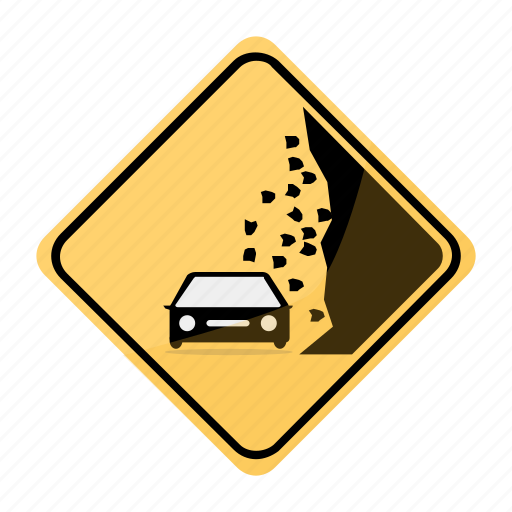 area, car, landslide, road, sign, traffic, yellow icon
