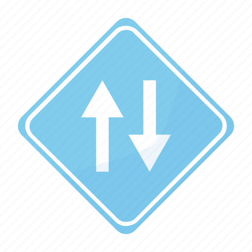 both, circulation, directions, in, road, sign, traffic icon
