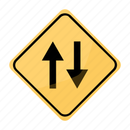 both, circulation, directions, in, road, sign, yellow icon