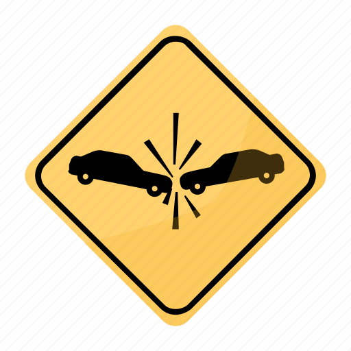 accident, crash, risk, road, sign, traffic, yellow icon
