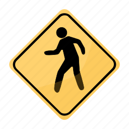 crossing, dangerous, people, road, sign, traffic, yellow icon