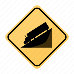 dangerous, descent, road, sign, traffic, trailer, yellow icon