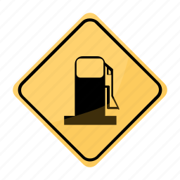 gas, road, sign, station, traffic, yellow icon