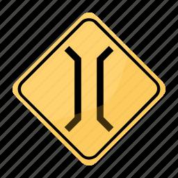 bridge, narrow, road, sign, traffic, yellow icon