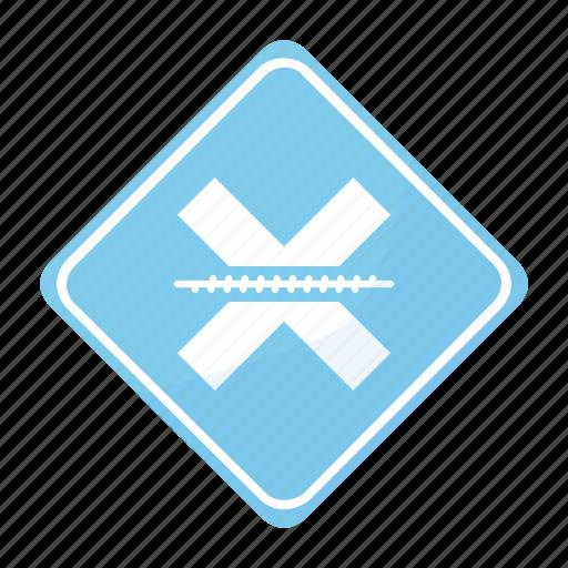 crossing, railroad, road, sign icon