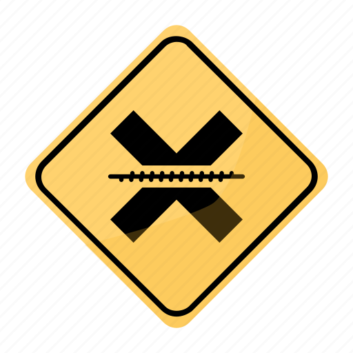 crossing, railroad, road, sign, traffic, yellow icon