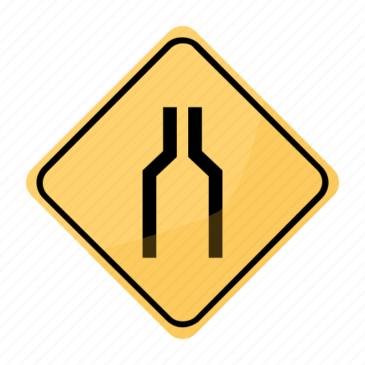 reduction, road, sign, traffic, yellow icon