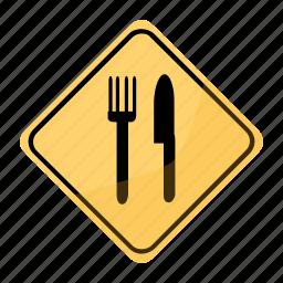 restaurant, road, sign, traffic, yellow icon