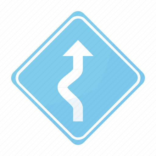curve, dangerous, road, sign, sinuous, traffic icon