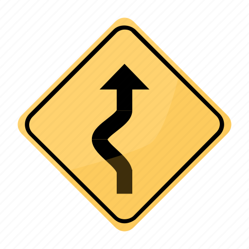 curve, dangerous, road, sign, sinuous, yellow icon