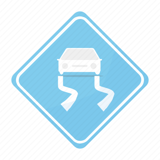 road, sign, slippery, traffic icon
