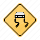 road, sign, slippery, traffic, yellow icon