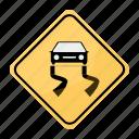 road, sign, slippery, traffic, yellow