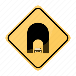 road, sign, traffic, tunne, yellow icon