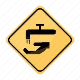 faucet, key, road, sign, water, yellow icon