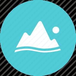 landscape, mountain, scenery, travel icon