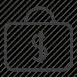 briefcase, luggage, portfolio icon