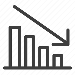 analytics, bar, chart, decrease, graph icon