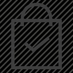 bag, check, ecommerce, shopping icon
