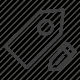 edit, label, tag, write icon