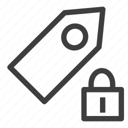 label, locked, protection, tag icon