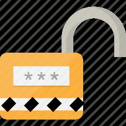 lock, locking, open, protection, unlock icon