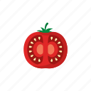 cook, food, red, sliced, tomato, vegetable, veggie icon