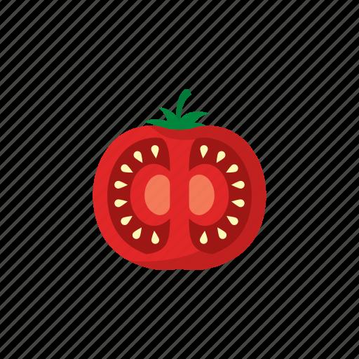 cook, food, red, sliced, tomato, vegetable, veggie icon